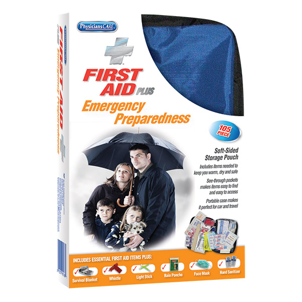 105-Piece First Aid Kit Plus Emergency Preparedness Kit