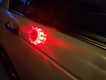 LED Flare Attached to Car Using Build-in Magnet