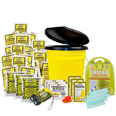 3 Person Basic Emergency Kit in a Bucket