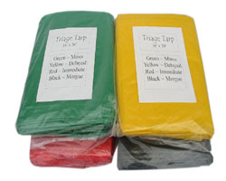 All four triage tarps - black - green - red - yellow with carry bag