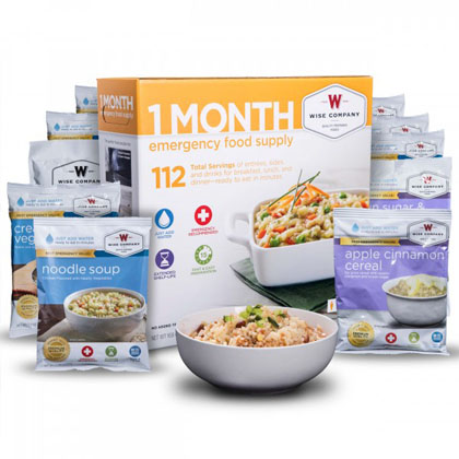 1 Month Emergency Food and Drink Supply<br>25 Years Shelf Life<br>Free Shipping!